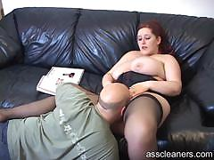 Big Titted Mistress Lets Man Lick Her Pussy Before Her Ass