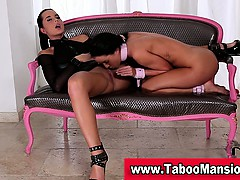 lesbo on a leash licks sexy dominas pussy in bdsm action in