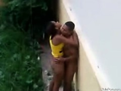 brazilian slut humping outside on the rain