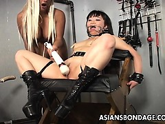 blonde-mistress-toys-her-asian-slavegirl-into-submission