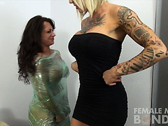dani-andrews-and-brandimae-plastic-wrapped-up