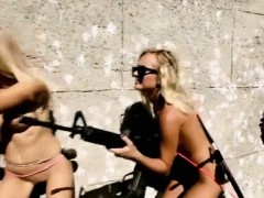 Horny Hot Babes Swimming In Sharks Cage And Snow Boarding