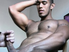 Hot Muscled Latino Jerking Off