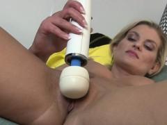 sexy blonde milf striptease and hitachi orgasm