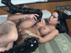Sexy Brunette Tranny Cristal Gets Fucked Anally