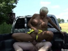 German Strett Hooker fucks older men outdoor for money