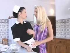 blonde-with-a-nylon-fetish-licks-her-maid