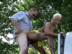 German Teenager Hooker Sexy Cora get fucked outdoor for Money