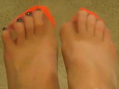 Feet In Orange Stockings Point Of View