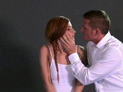 bound redhead gets throat penetrated till facial