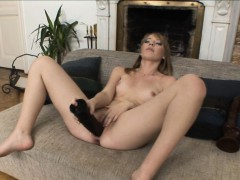 Mary fills her pussy and asshole with brutal dildos