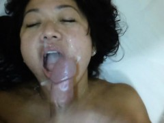face full o' cum — asian amateur bitch