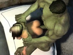 3d cartoon babe gets penetrated outdoors by the hulk