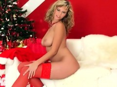 zuzana-doing-a-holiday-tease-in-red-stockings