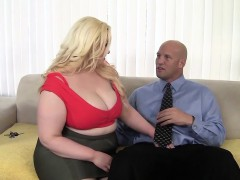 Platinum blonde Klaudia Kelly with huge breasts and big ass gets a fat cock