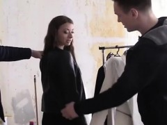 Russian Tries On Clothes Before Fucked By Two Men