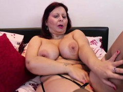 busty mature lady masturbating in stockings