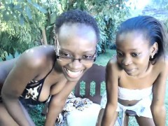 Two Dark Skinned Cuties Showing Off Their Sexy Bodies In Th