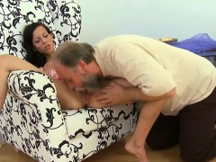 Kinky young sweetie receives her fur pie slammed by old dude