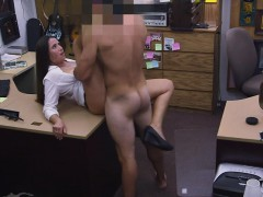Pawnshop booty babe cockriding in store