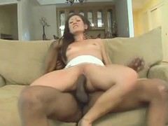 Sexy Slim Brunette With Lovely Tits Impales Herself On A Black Stick