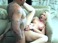 Naughty Blonde With A Big Round Booty Has A Black Man Banging Her Twat