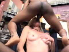 Slender Blonde Cougar Has A Black Stallion Roughly Drilling Her Holes