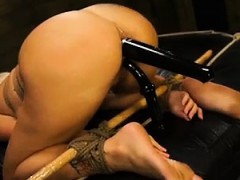 Big ass blonde is banged by two objects at the same time