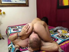 blowjob brunette enjoys big large cock in her moist pussy t