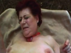 redhead granny banged hard in outdoor action