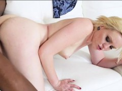 Short Blonde Hair Teen Miley May Nailed By Big Black Cock