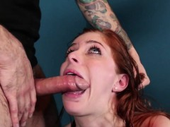 Redhead sexslave roughly throated balls deep