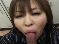 precious asian bitch is blowing off a fat cock in pov