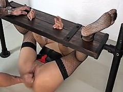 Fisting a girl in a stock - visit realfuck24