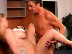 big tit blonde woman rides aged dude