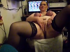 Granny With Tits Tangled Up Masturbating