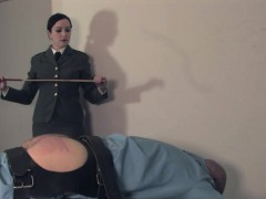 Uniform Mistress Canes Jailed Scum Sub Ass