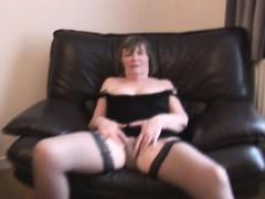 Hairy Granny In Stockings Spreading