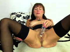 British Hairy Lady Playing With Herself