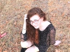 Redhead Teen Fucked Outdoors Ends With A Facial