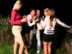 piss loving euro humping in outdoor orgy