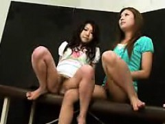 two attractive asian girls reveal their hairy peaches for t