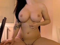 busty brunette puts a dildo in her vagina on the chair Amateur Sex Cam Videos Live!