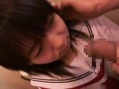 adorable japanese schoolgirl worships a long penis and gets