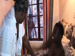 rough poking and spanking with african girl in threesome