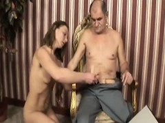 handicapped old dude gets head from brunette slut