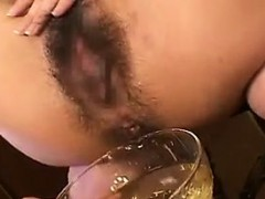crazy slut gets toyed, does deep throat and they all pee i
