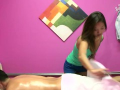 Asian massage babe wanking on client cock