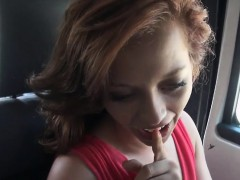 cute lady flashes tits and pounded in the car for money