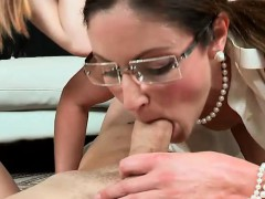 milf threesome sex with a young couple in the livingroom